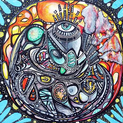 Trippy Painting - Cardio Mandala by Larry Calabrese