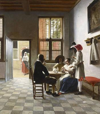 Pieter De Hooch Wall Art - Painting - Cardplayers In A Sunlit Room by Pieter de Hooch