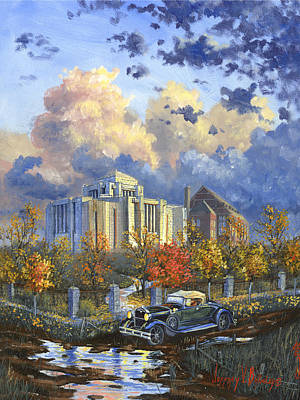 Painting - Cardston Alberta Canada Temple by Jeff Brimley