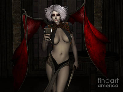 Female Body Digital Art - Care For A Sip by Alexander Butler