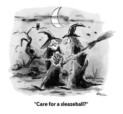 Halloween Drawing - Care For A Sleazeball? by Lee Lorenz