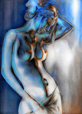 Colored Woman Art Drawing - Caress Of Light  I by J- J- Espinoza