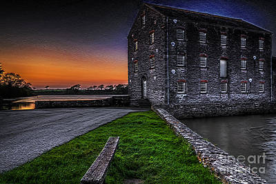 Photograph - Carew Tidal Mill At Sunset Textured by Steve Purnell