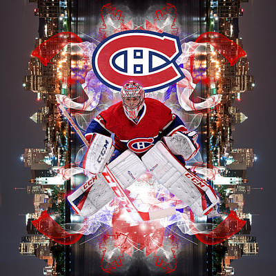 Canadiens Digital Art - Carey Price Poster by Nicholas Legault