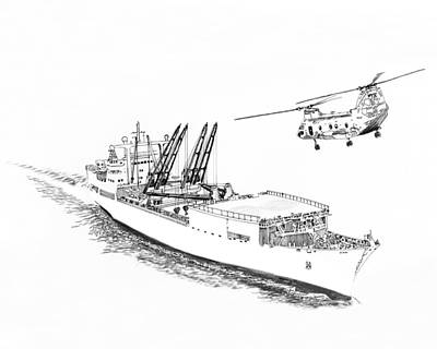 Helicopter Drawing - Merchant Marine Cargo Ship At Work by Jack Pumphrey