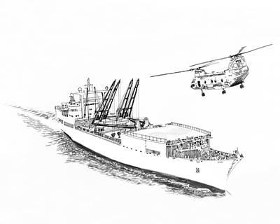 Drawing - Merchant Marine Cargo Ship At Work by Jack Pumphrey
