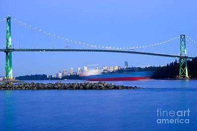 Cargo Ship Leaves Port Art Print