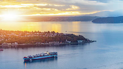 Cargo Ship Through Puget Sound In Sunset Art Print by Onest Mistic