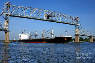 Cargo Ship Under Bridge Art Print