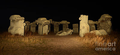 Photograph - Carhenge At Night by Bob Christopher