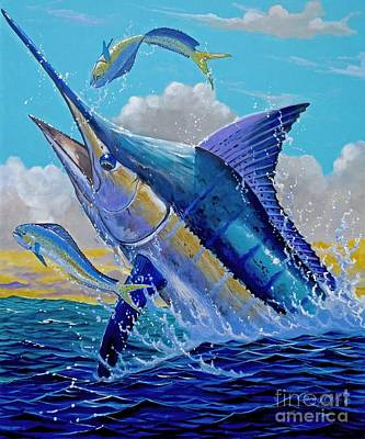 Shark Painting - Carib Blue by Carey Chen