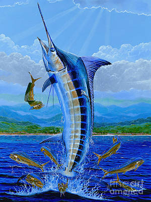 Striped Marlin Painting - Caribbean Blue Off0041 by Carey Chen