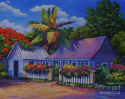 Acrylics Painting - Caribbean Cottage by John Clark