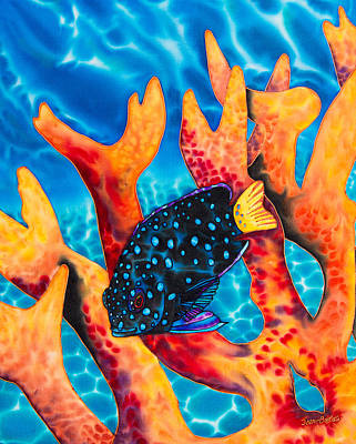 Caribbean Damselfish Art Print by Daniel Jean-Baptiste