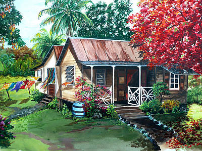 Flamboyant Tree Painting - Caribbean Life by Karin  Dawn Kelshall- Best