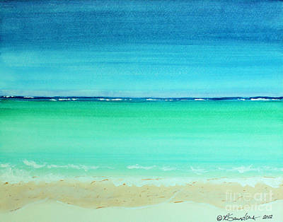 Painting - Caribbean Ocean Turquoise Waters Abstract by Robyn Saunders