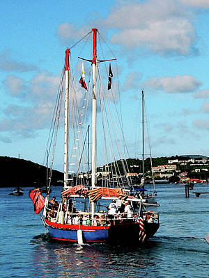 Photograph - Caribbean - Red White And Blue Boat At St Thomas by Susan Savad