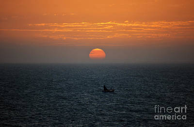 Outdoors Photograph - Caribbean Sunrise Over Cozumel Mexico With Fishing Skiff In Foreground by Shawn O'Brien