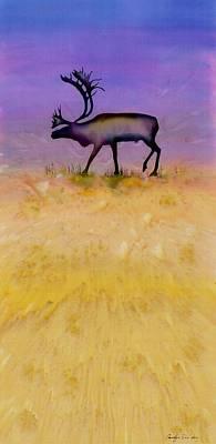 Caribou On The Tundra 2 Print by Carolyn Doe