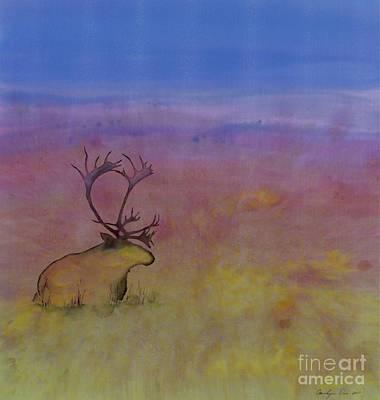 Caribou On The Tundra Art Print by Carolyn Doe