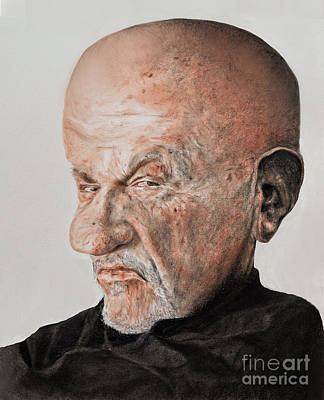 Caricature Of Actor Jonathan Banks As Mike Ehrmantraut In Breaking Bad Print by Jim Fitzpatrick