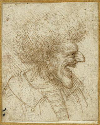 Caricature Drawing - Caricature Of A Man With Bushy Hair Leonardo Da Vinci by Litz Collection