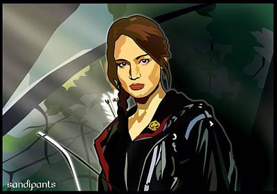 Caricature Digital Art - Caricature Of Katniss Everdeen by Sandi Fender