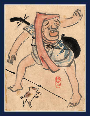 Caricature Drawing - Caricature Of Musician Or Actor Dancing With A Cat by Japanese School