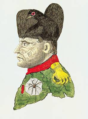 Caricature Of Napoleon Bonaparte Print by English School