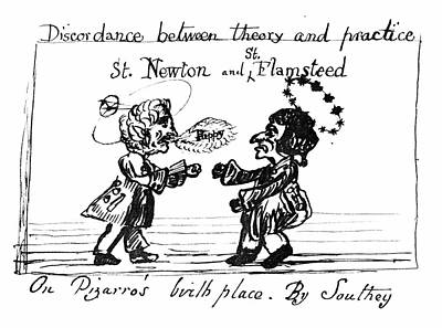 Historia Wall Art - Photograph - Caricature Of Newton And Flamsteed by Royal Astronomical Society/science Photo Library
