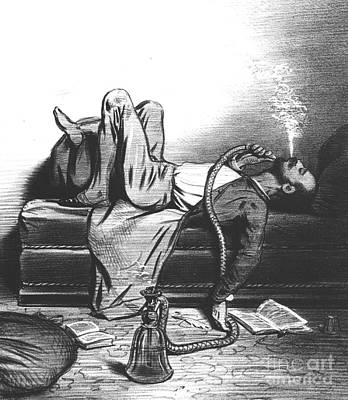 Caricature Of The Romantic Writer Searching His Inspiration In The Hashish Art Print by French School