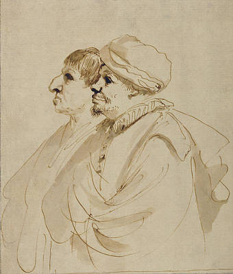 Giovanni Francesco Barbieri Drawing - Caricature Of Two Men Seen In Profile Guercino Giovanni by Litz Collection