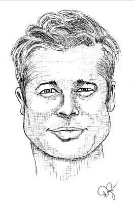 Drawing - Brad Pitt Caricature by Dale Jackson