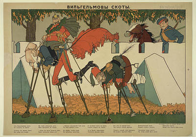 War Poster Photograph - Caricature Of Wilhelm II And His Allies by British Library