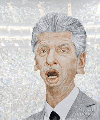 Drawing - Caricature Of Wwe Owner Vince Mcmahon by Jim Fitzpatrick