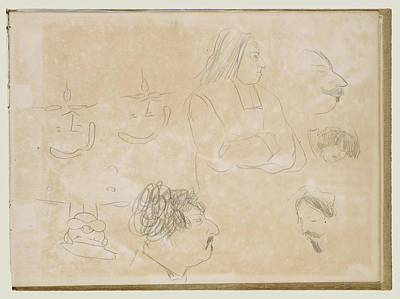 Caricature Drawing - Caricature Sketches Edgar Degas, French by Litz Collection
