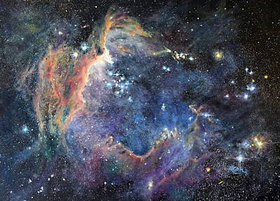 Space Painting - Carina Nebula by Marie Green