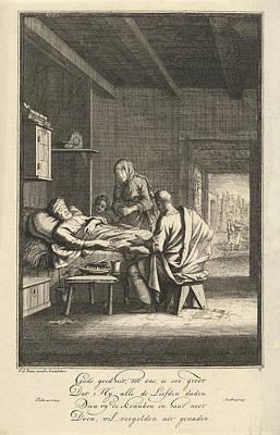 Mercy Drawing - Caring For The Sick, Jan Luyken by Jan Luyken And Gerrit De Broen (sr.)
