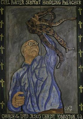 Snake Priest Painting - Carl Porter - Serpent Handling Preacher by Eric Cunningham