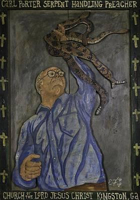 Painting - Carl Porter - Serpent Handling Preacher by Eric Cunningham