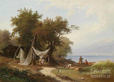 Lake Geneva Painting - Carl Porttmann Fishermans Family On The Shores Of Lake Geneva by Celestial Images