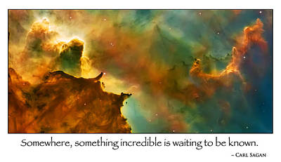 Carl Sagan Quote And Carina Nebula 2 Art Print