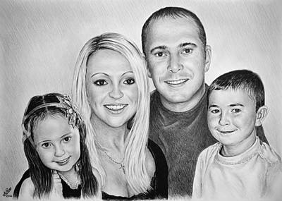 Andrew Read Art Drawing - Carlie Neil Alisha And Ben by Andrew Read