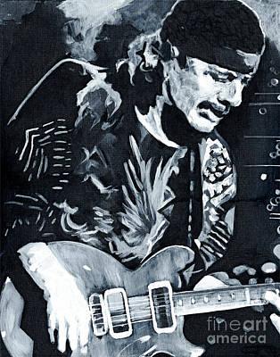 Santana Painting - Carlos Santana - Black Magic Woman by Tanya Filichkin
