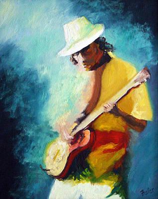 Carlos Santana Painting - Carlos Santana by Linda Riesenberg Fisler