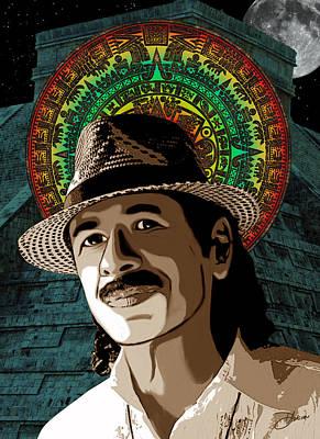 Santana Painting - Carlos Santana Mayan Prince by Dancin Artworks