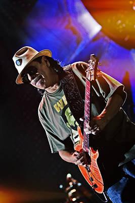 Universal Tone Tour Photograph - Carlos Santana On Guitar 7 by Jennifer Rondinelli Reilly - Fine Art Photography