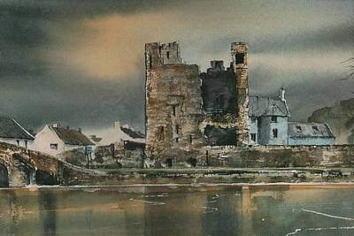 Mixed Media - Carlow Leighlinbridge Black Castle by Roland Byrne