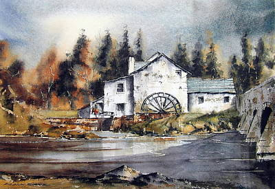 Mixed Media - Carlow Rathvilly Mill by Roland Byrne