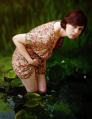Carly Amongst The Water Lillies Art Print